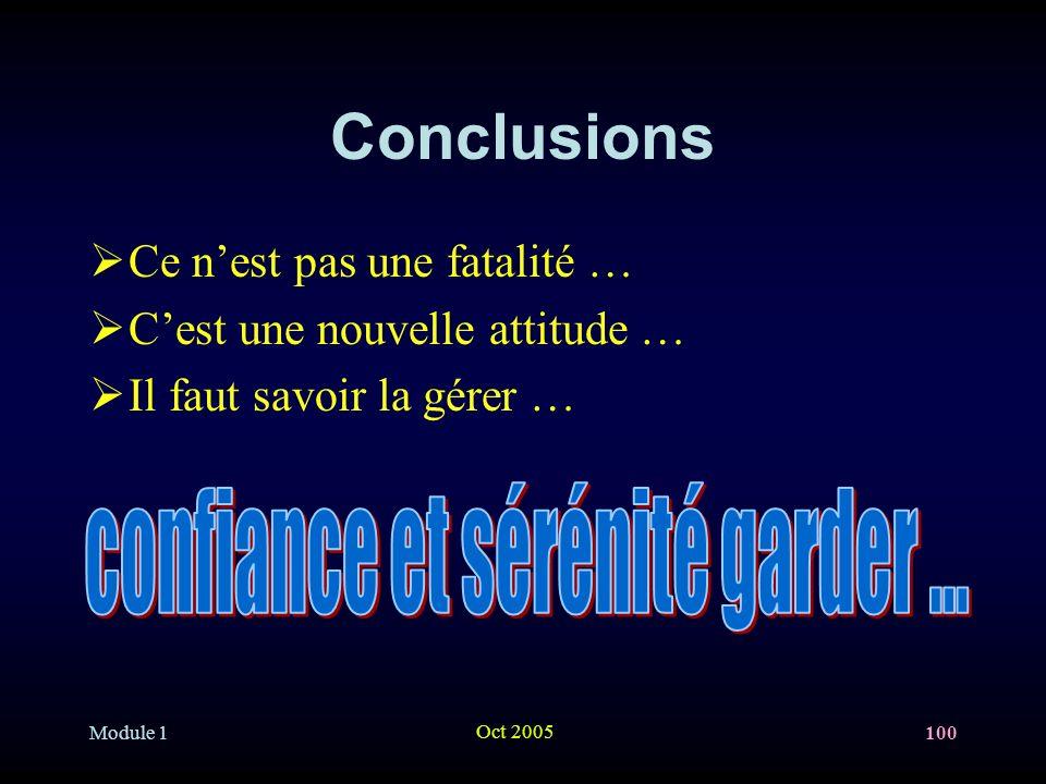 Module 1 Oct 2005 100 Conclusions Ce nest pas une fatalité … Cest une nouvelle attitude … Il faut savoir la gérer …