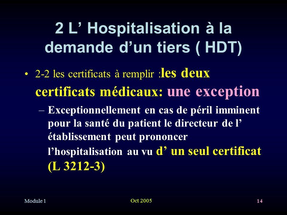 Module 1 Oct 2005 14 2 L Hospitalisation à la demande dun tiers ( HDT) 2-2 les certificats à remplir : les deux certificats médicaux: une exception –Exceptionnellement en cas de péril imminent pour la santé du patient le directeur de l établissement peut prononcer lhospitalisation au vu d un seul certificat (L 3212-3)