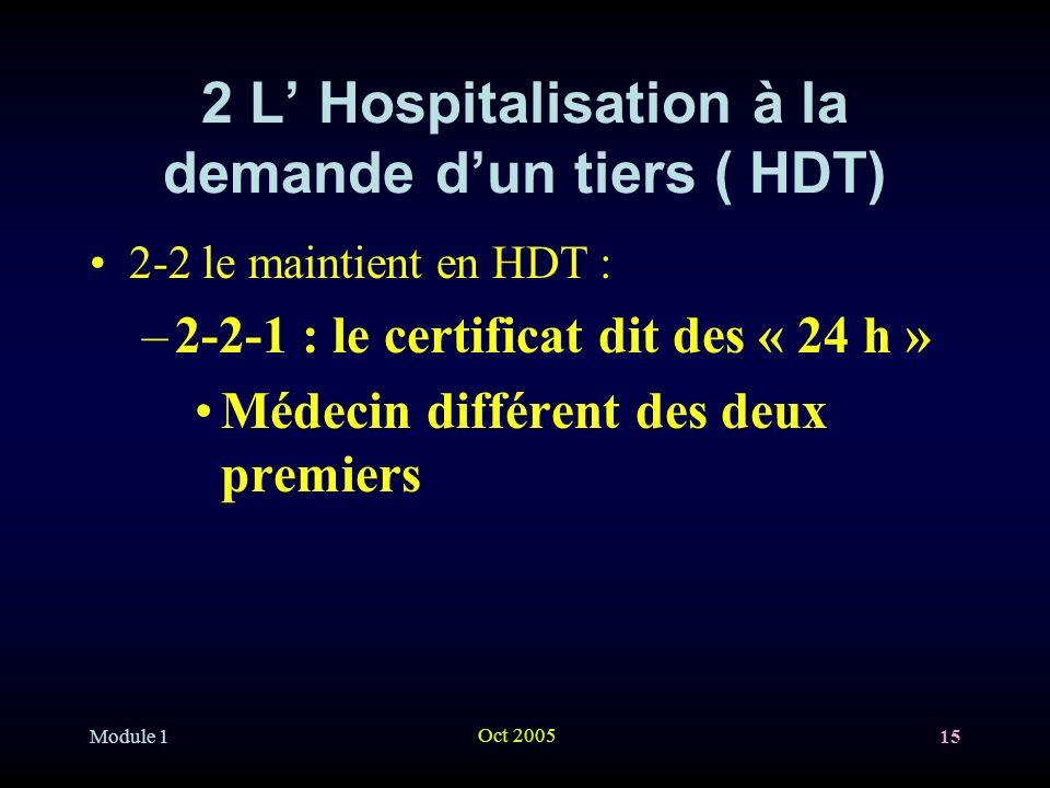 Module 1 Oct 2005 15 2 L Hospitalisation à la demande dun tiers ( HDT) 2-2 le maintient en HDT : –2-2-1 : le certificat dit des « 24 h » Médecin différent des deux premiers
