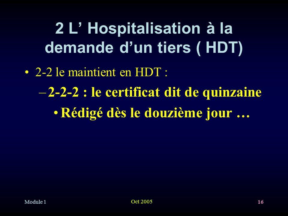 Module 1 Oct 2005 16 2 L Hospitalisation à la demande dun tiers ( HDT) 2-2 le maintient en HDT : –2-2-2 : le certificat dit de quinzaine Rédigé dès le douzième jour …