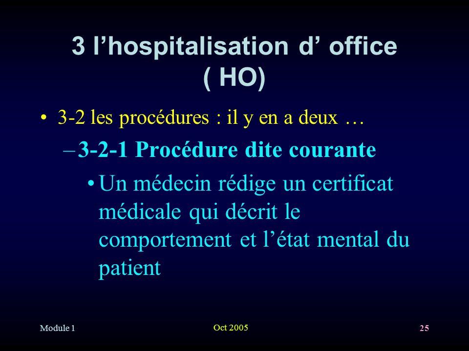 Module 1 Oct 2005 25 3 lhospitalisation d office ( HO) 3-2 les procédures : il y en a deux … –3-2-1 Procédure dite courante Un médecin rédige un certificat médicale qui décrit le comportement et létat mental du patient