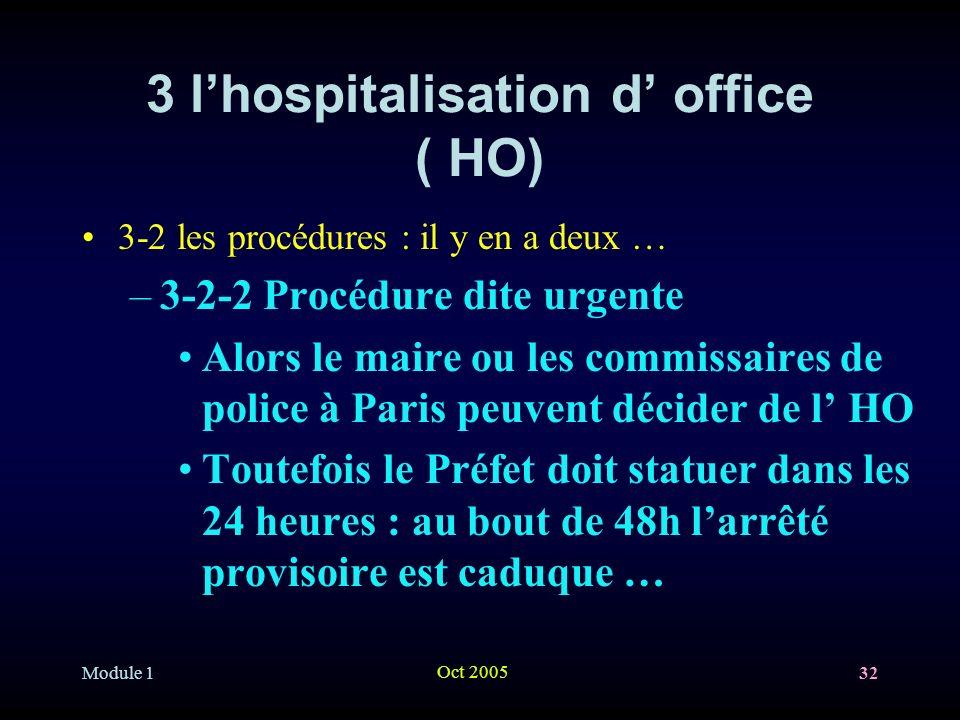 Module 1 Oct 2005 32 3 lhospitalisation d office ( HO) 3-2 les procédures : il y en a deux … –3-2-2 Procédure dite urgente Alors le maire ou les commissaires de police à Paris peuvent décider de l HO Toutefois le Préfet doit statuer dans les 24 heures : au bout de 48h larrêté provisoire est caduque …