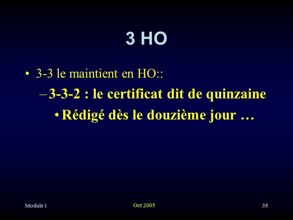 Module 1 Oct 2005 35 3 HO 3-3 le maintient en HO:: –3-3-2 : le certificat dit de quinzaine Rédigé dès le douzième jour …