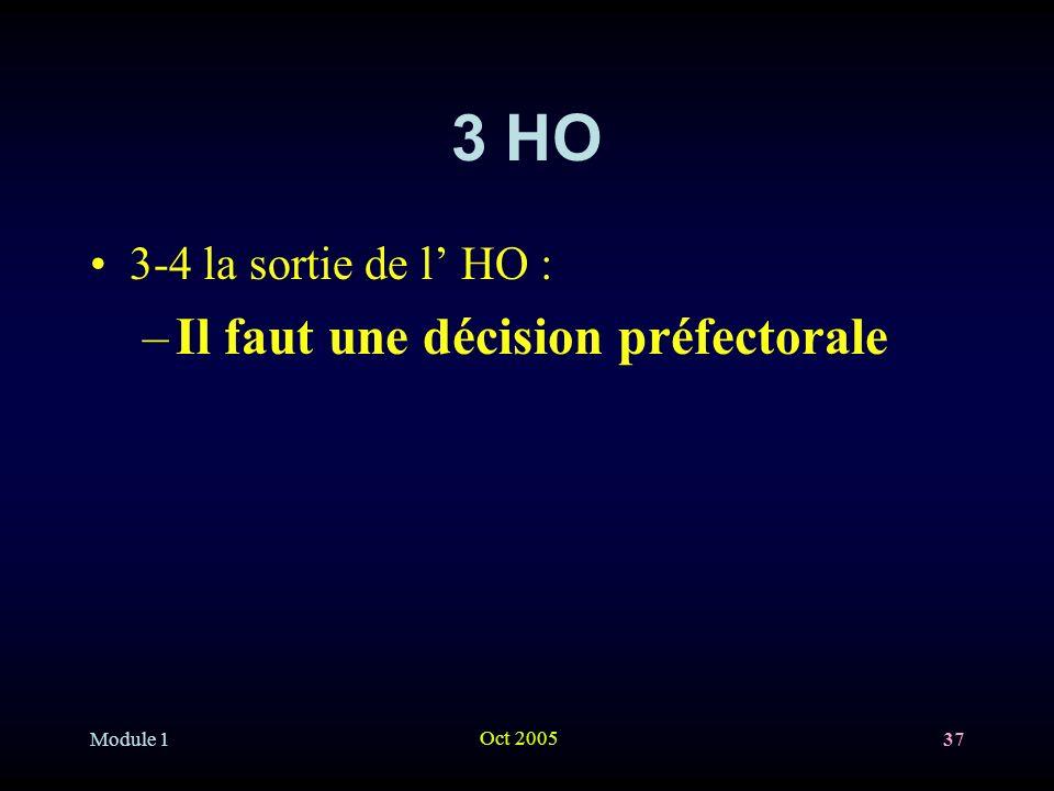 Module 1 Oct 2005 37 3 HO 3-4 la sortie de l HO : –Il faut une décision préfectorale