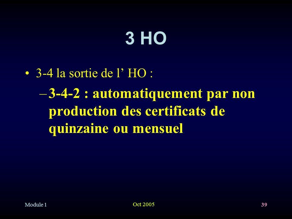 Module 1 Oct 2005 39 3 HO 3-4 la sortie de l HO : –3-4-2 : automatiquement par non production des certificats de quinzaine ou mensuel