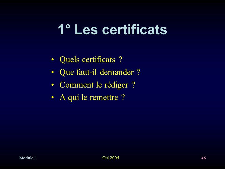 Module 1 Oct 2005 46 1° Les certificats Quels certificats .