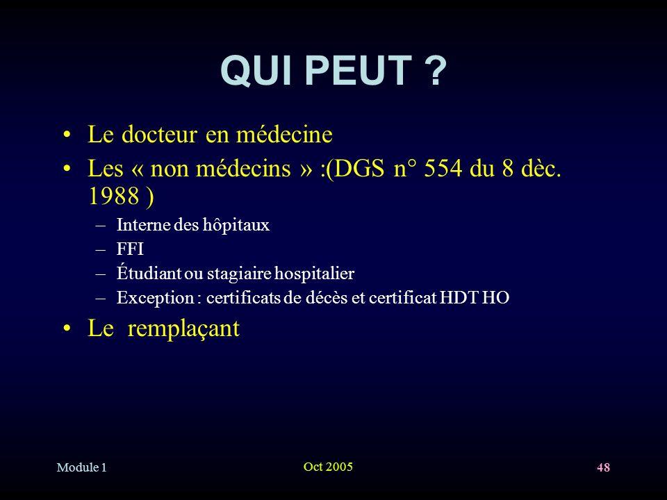 Module 1 Oct 2005 48 QUI PEUT .Le docteur en médecine Les « non médecins » :(DGS n° 554 du 8 dèc.