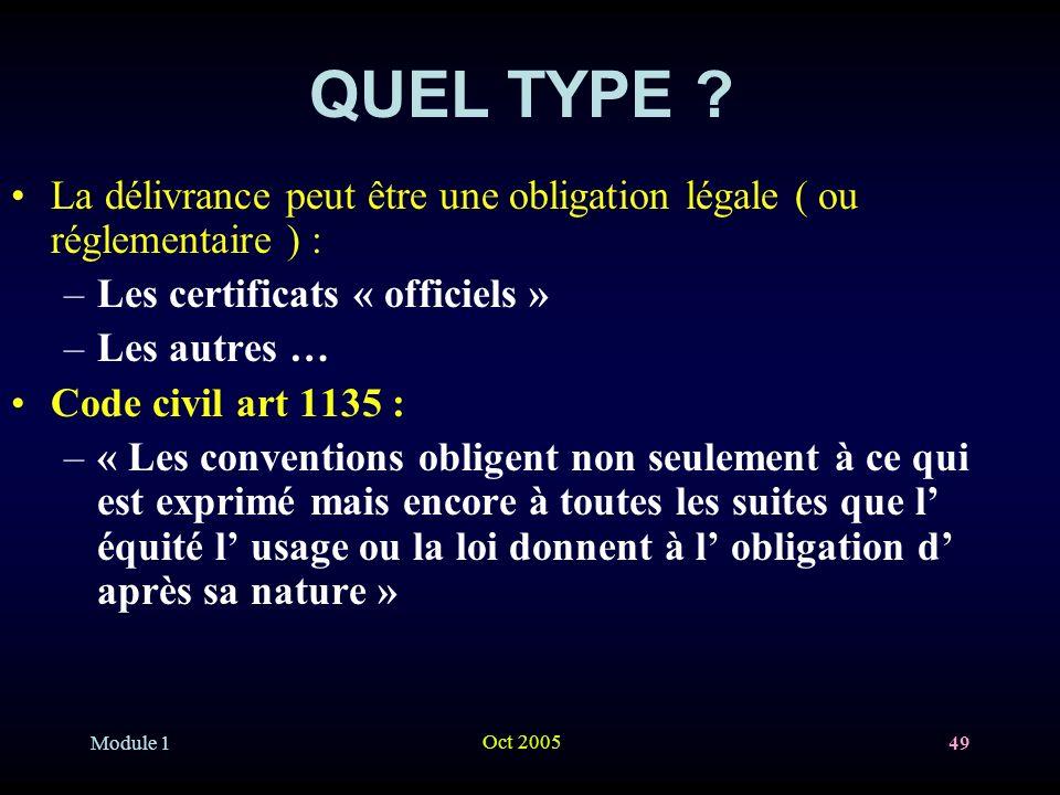 Module 1 Oct 2005 49 QUEL TYPE .
