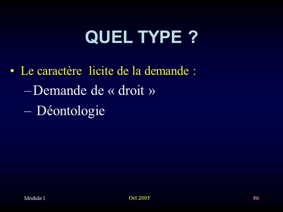 Module 1 Oct 2005 50 QUEL TYPE .