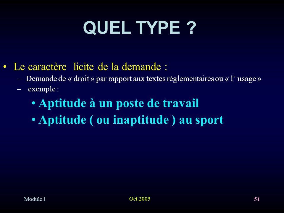 Module 1 Oct 2005 51 QUEL TYPE .