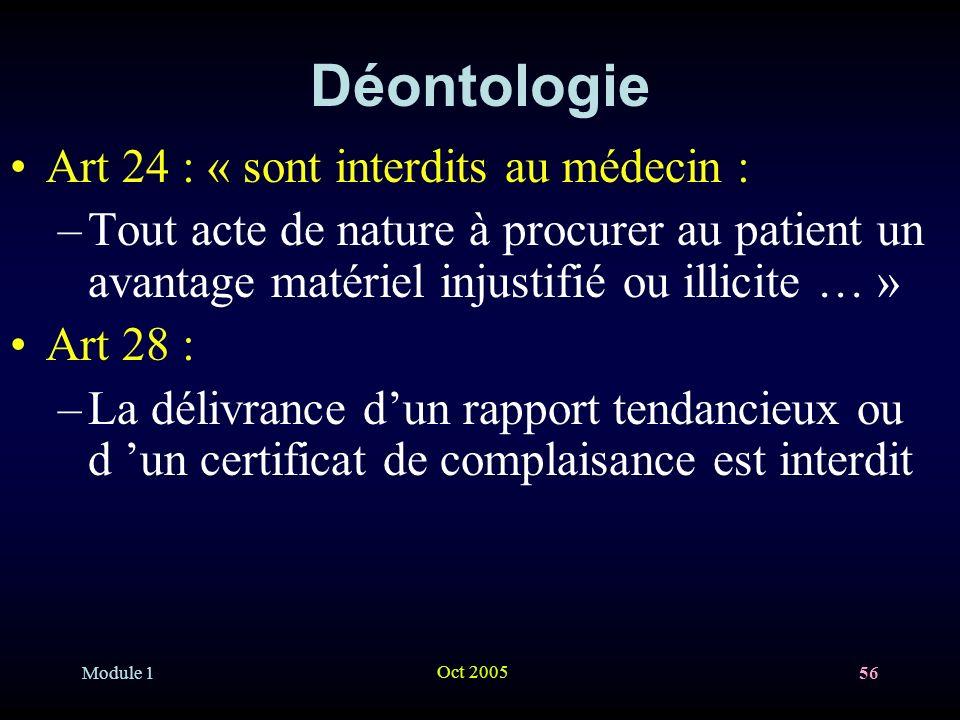 Module 1 Oct 2005 56 Déontologie Art 24 : « sont interdits au médecin : –Tout acte de nature à procurer au patient un avantage matériel injustifié ou illicite … » Art 28 : –La délivrance dun rapport tendancieux ou d un certificat de complaisance est interdit