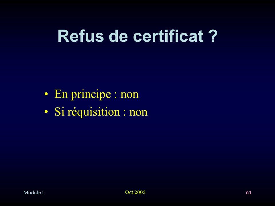 Module 1 Oct 2005 61 Refus de certificat ? En principe : non Si réquisition : non