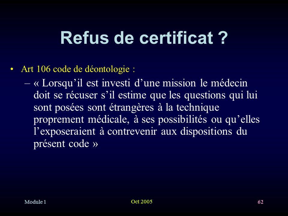 Module 1 Oct 2005 62 Refus de certificat .