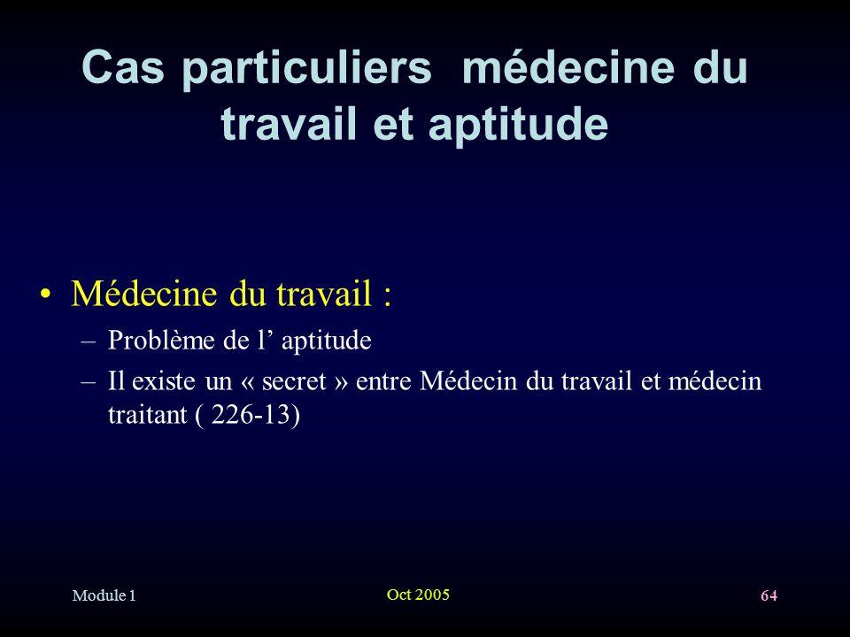 Module 1 Oct 2005 64 Cas particuliers médecine du travail et aptitude Médecine du travail : –Problème de l aptitude –Il existe un « secret » entre Médecin du travail et médecin traitant ( 226-13)
