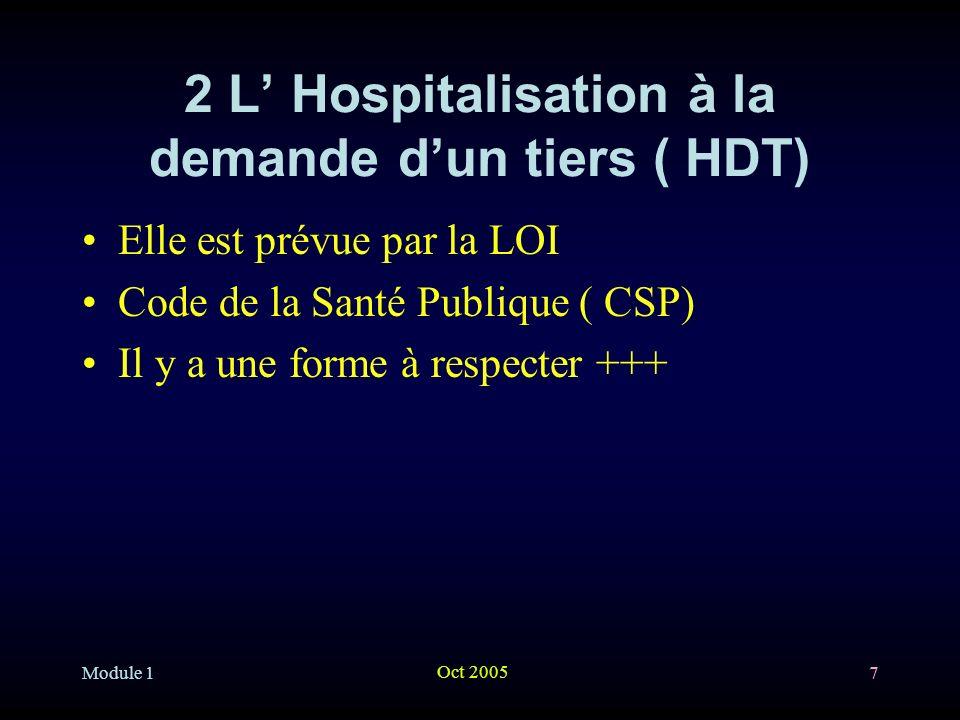 Module 1 Oct 2005 28 3 lhospitalisation d office ( HO) 3-2 les procédures : il y en a deux … –3-2-1 Procédure dite courante Il peut être rédigé sans examen lorsque la dangerosité rend lexamen impossible …