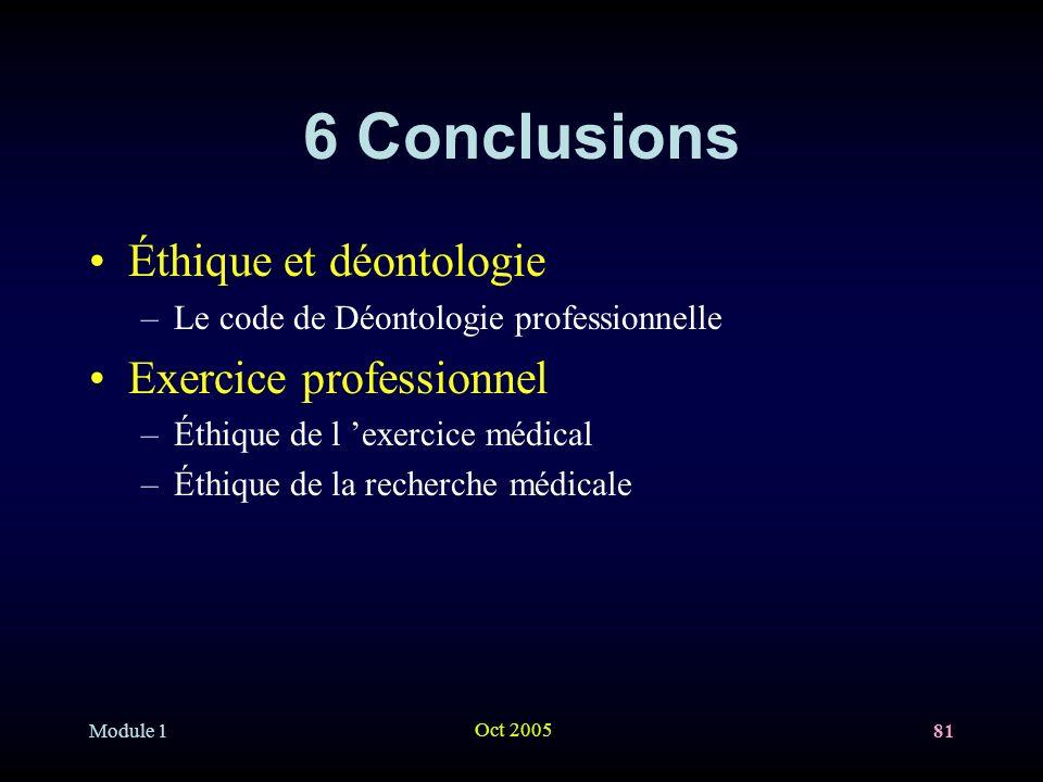 Module 1 Oct 2005 81 6 Conclusions Éthique et déontologie –Le code de Déontologie professionnelle Exercice professionnel –Éthique de l exercice médical –Éthique de la recherche médicale
