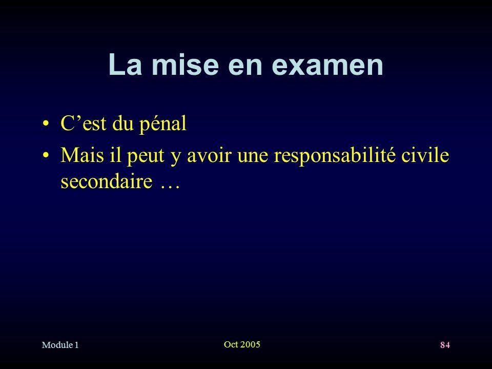 Module 1 Oct 2005 84 La mise en examen Cest du pénal Mais il peut y avoir une responsabilité civile secondaire …
