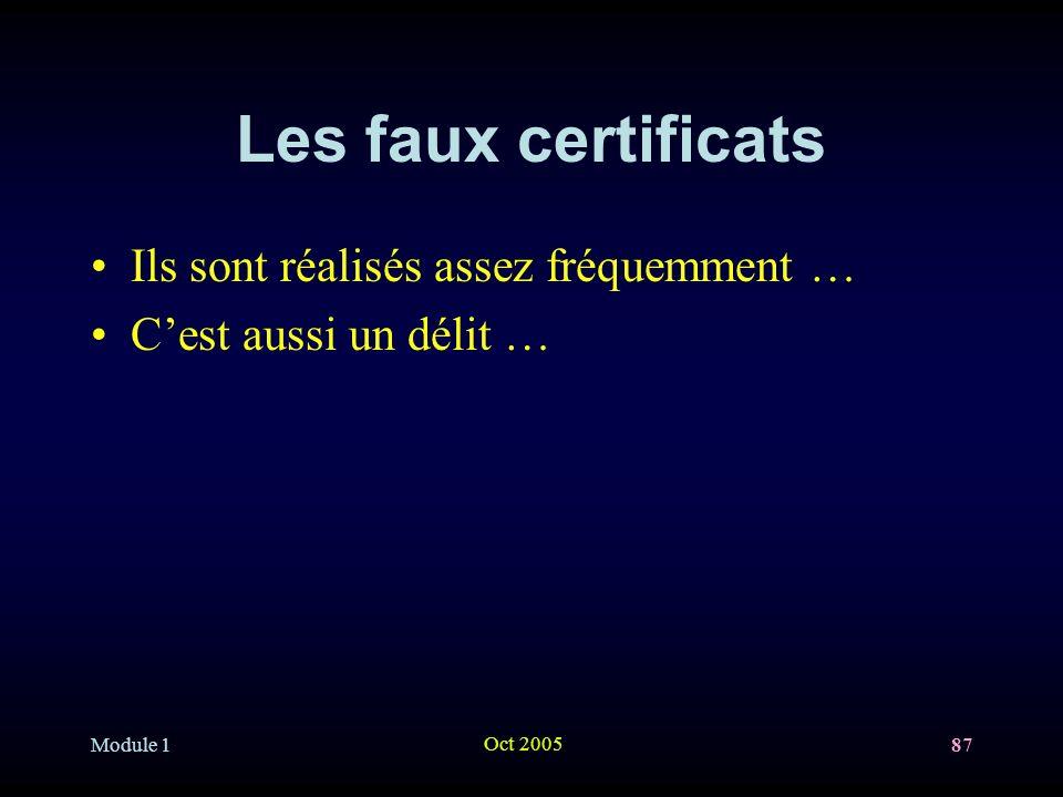 Module 1 Oct 2005 87 Les faux certificats Ils sont réalisés assez fréquemment … Cest aussi un délit …