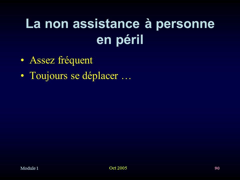 Module 1 Oct 2005 90 La non assistance à personne en péril Assez fréquent Toujours se déplacer …