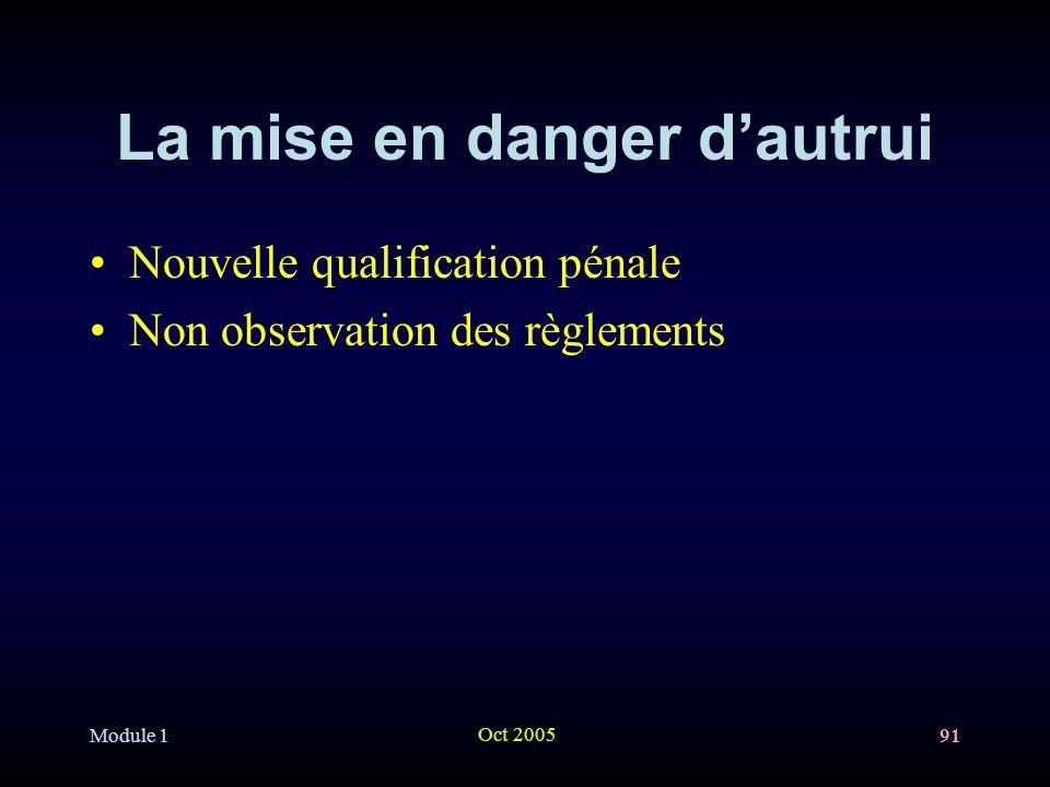 Module 1 Oct 2005 91 La mise en danger dautrui Nouvelle qualification pénale Non observation des règlements