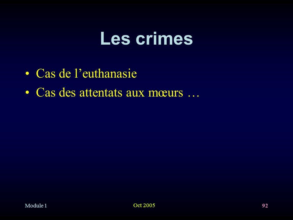 Module 1 Oct 2005 92 Les crimes Cas de leuthanasie Cas des attentats aux mœurs …