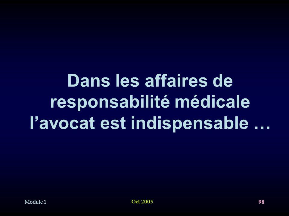 Module 1 Oct 2005 98 Dans les affaires de responsabilité médicale lavocat est indispensable …