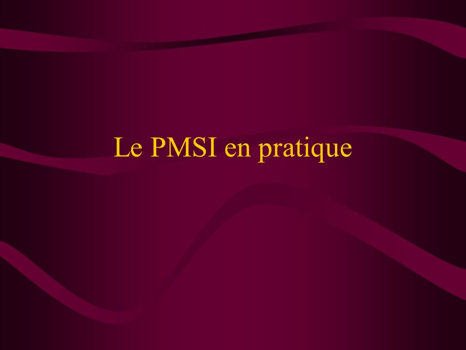 Conclusion Le PMSI : outil quantitatif destiné en priorité à lallocation budgétaire le PMSI nest pas un outil universel couplage à envisager avec des outils qualitatifs (ANAES) base de dialogue intéressante entre les tutelles et les établissements et entre médecins et administratifs