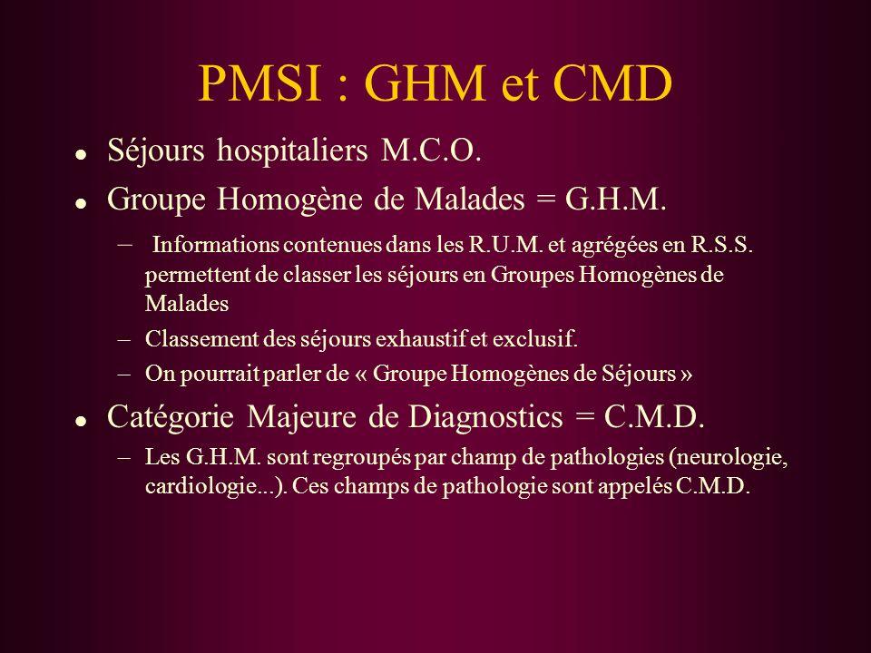 PMSI : GHM et CMD l Séjours hospitaliers M.C.O. l Groupe Homogène de Malades = G.H.M. – Informations contenues dans les R.U.M. et agrégées en R.S.S. p
