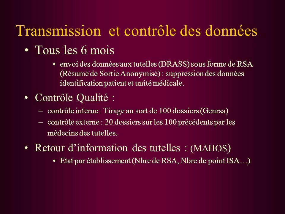 Transmission et contrôle des données Tous les 6 mois envoi des données aux tutelles (DRASS) sous forme de RSA (Résumé de Sortie Anonymisé) : suppressi