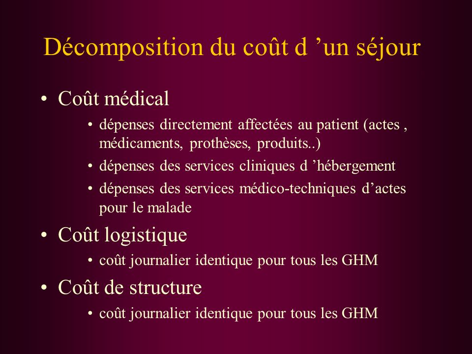 Décomposition du coût d un séjour Coût médical dépenses directement affectées au patient (actes, médicaments, prothèses, produits..) dépenses des serv