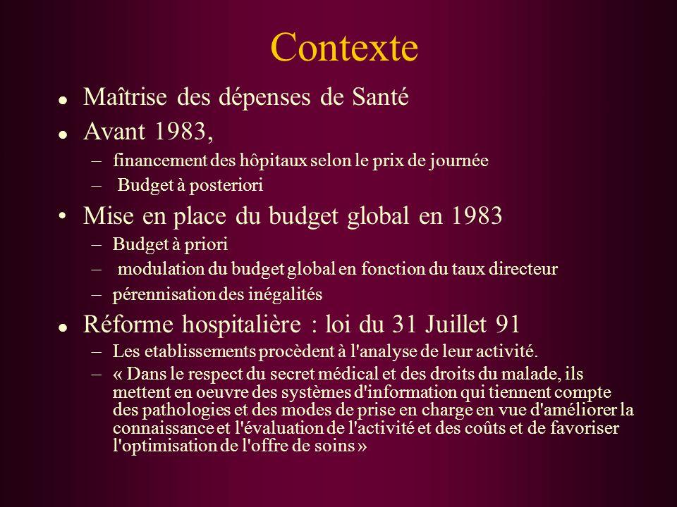 Contexte l Maîtrise des dépenses de Santé l Avant 1983, –financement des hôpitaux selon le prix de journée – Budget à posteriori Mise en place du budg