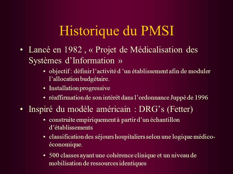 Historique du PMSI Lancé en 1982, « Projet de Médicalisation des Systèmes dInformation » objectif : définir lactivité d un établissement afin de modul