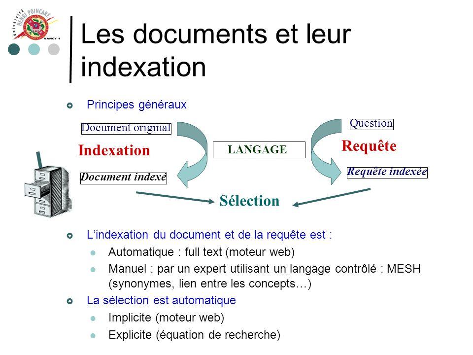 Les documents et leur indexation Principes généraux Lindexation du document et de la requête est : Automatique : full text (moteur web) Manuel : par u