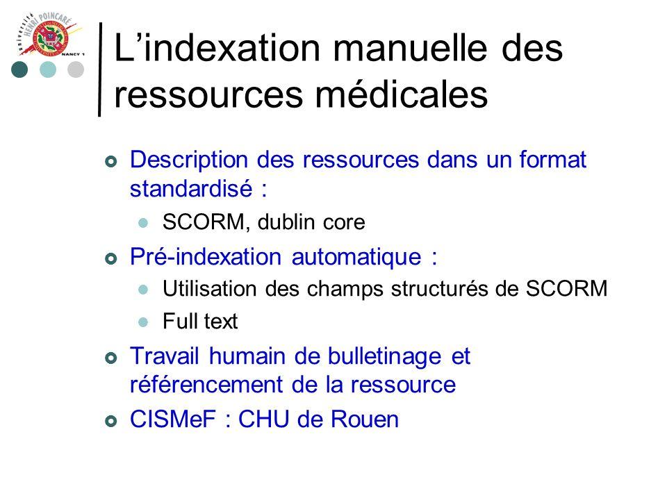 Lindexation manuelle des ressources médicales Description des ressources dans un format standardisé : SCORM, dublin core Pré-indexation automatique :