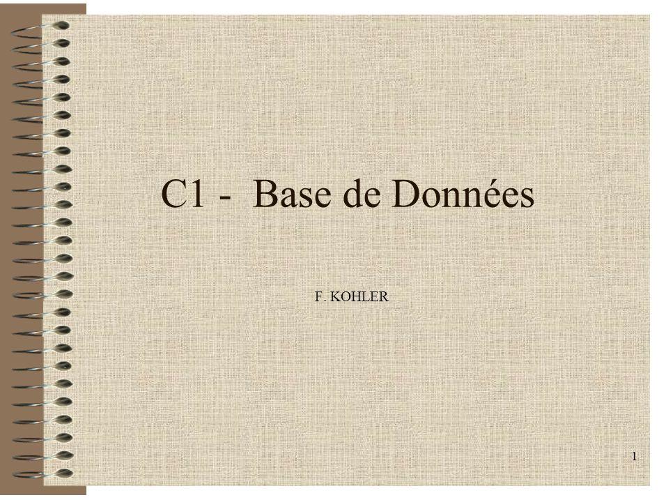 1 C1 - Base de Données F. KOHLER