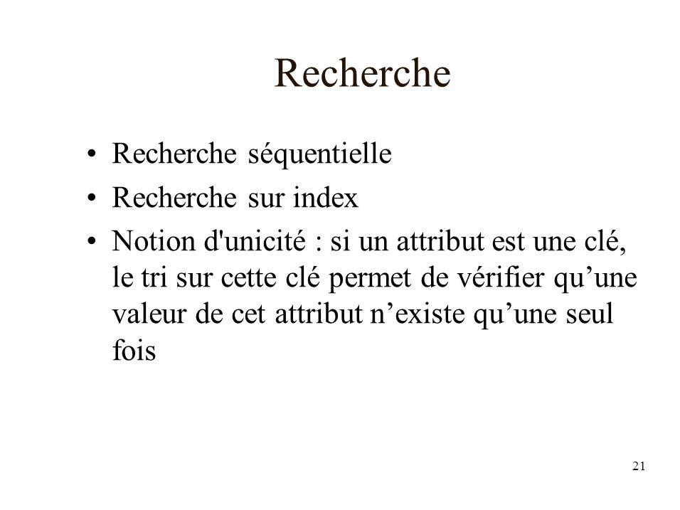 21 Recherche Recherche séquentielle Recherche sur index Notion d unicité : si un attribut est une clé, le tri sur cette clé permet de vérifier quune valeur de cet attribut nexiste quune seul fois