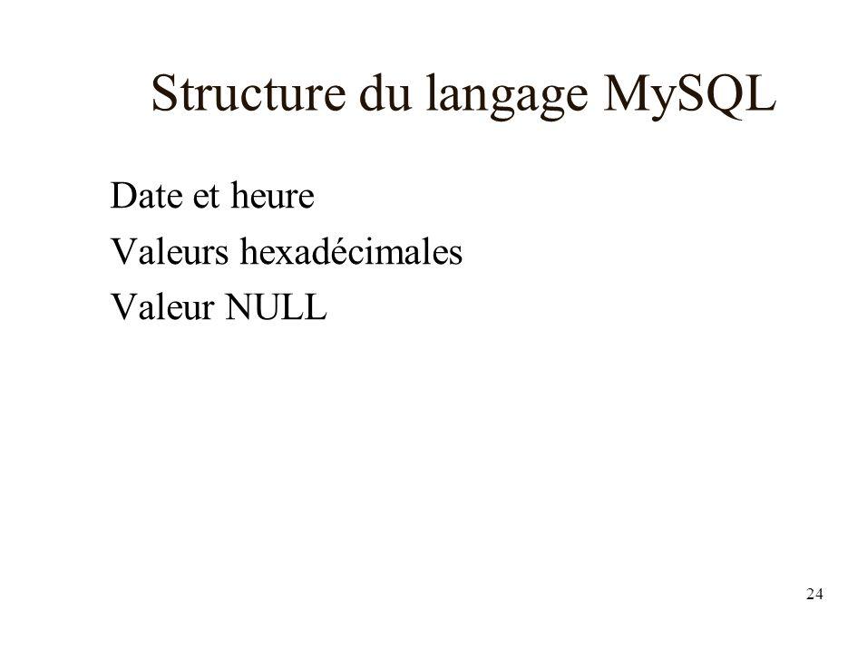 24 Structure du langage MySQL Date et heure Valeurs hexadécimales Valeur NULL