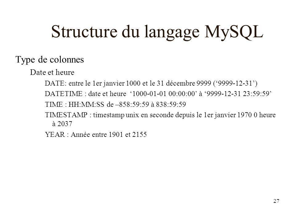 27 Structure du langage MySQL Type de colonnes Date et heure DATE: entre le 1er janvier 1000 et le 31 décembre 9999 (9999-12-31) DATETIME : date et heure 1000-01-01 00:00:00 à 9999-12-31 23:59:59 TIME : HH:MM:SS de –858:59:59 à 838:59:59 TIMESTAMP : timestamp unix en seconde depuis le 1er janvier 1970 0 heure à 2037 YEAR : Année entre 1901 et 2155