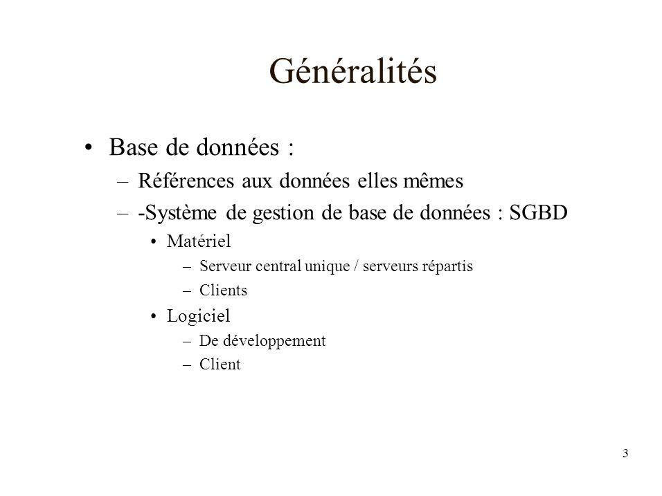 3 Généralités Base de données : –Références aux données elles mêmes –-Système de gestion de base de données : SGBD Matériel –Serveur central unique / serveurs répartis –Clients Logiciel –De développement –Client