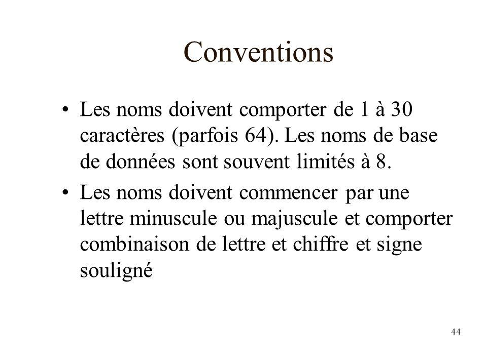 44 Conventions Les noms doivent comporter de 1 à 30 caractères (parfois 64).