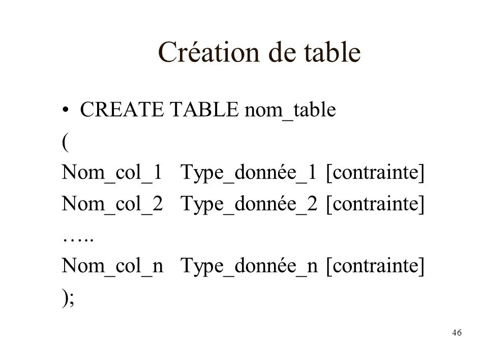 46 Création de table CREATE TABLE nom_table ( Nom_col_1 Type_donnée_1 [contrainte] Nom_col_2 Type_donnée_2 [contrainte] ….. Nom_col_n Type_donnée_n [c
