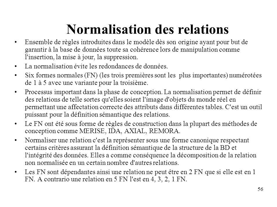 56 Normalisation des relations Ensemble de règles introduites dans le modèle dès son origine ayant pour but de garantir à la base de données toute sa cohérence lors de manipulation comme l insertion, la mise à jour, la suppression.