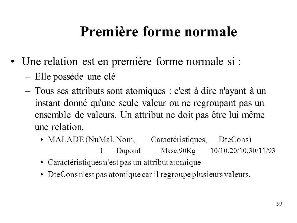 59 Première forme normale Une relation est en première forme normale si : –Elle possède une clé –Tous ses attributs sont atomiques : c est à dire n ayant à un instant donné qu une seule valeur ou ne regroupant pas un ensemble de valeurs.