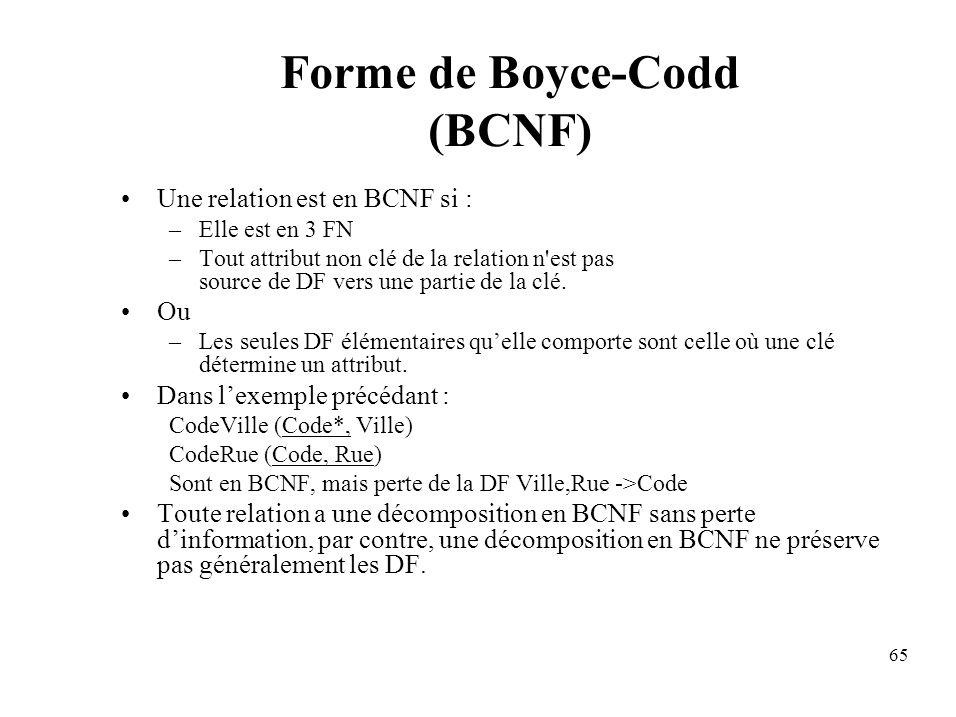 65 Forme de Boyce-Codd (BCNF) Une relation est en BCNF si : –Elle est en 3 FN –Tout attribut non clé de la relation n est pas source de DF vers une partie de la clé.