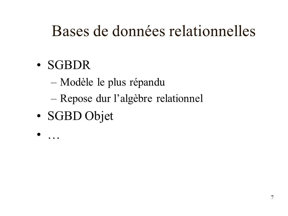 7 Bases de données relationnelles SGBDR –Modèle le plus répandu –Repose dur lalgèbre relationnel SGBD Objet …
