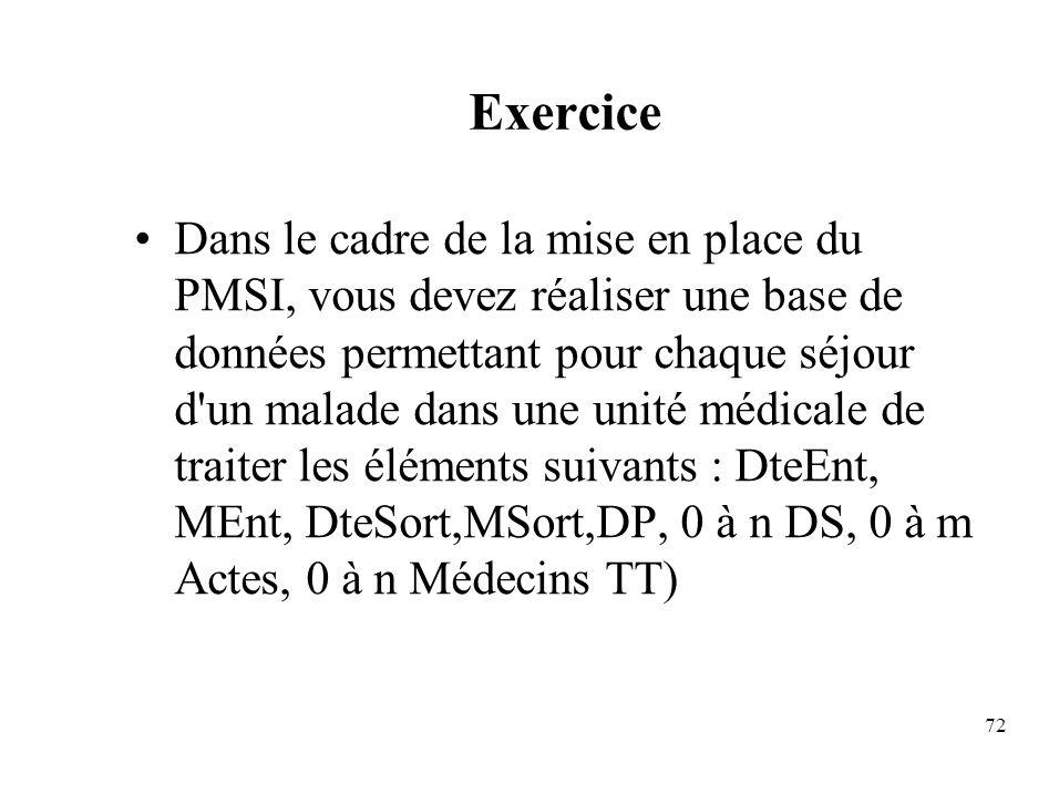 72 Exercice Dans le cadre de la mise en place du PMSI, vous devez réaliser une base de données permettant pour chaque séjour d un malade dans une unité médicale de traiter les éléments suivants : DteEnt, MEnt, DteSort,MSort,DP, 0 à n DS, 0 à m Actes, 0 à n Médecins TT)