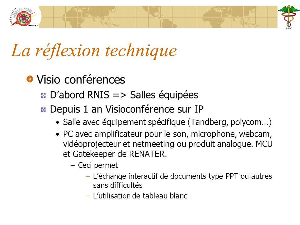 La réflexion technique Visio conférences Dabord RNIS => Salles équipées Depuis 1 an Visioconférence sur IP Salle avec équipement spécifique (Tandberg, polycom…) PC avec amplificateur pour le son, microphone, webcam, vidéoprojecteur et netmeeting ou produit analogue.