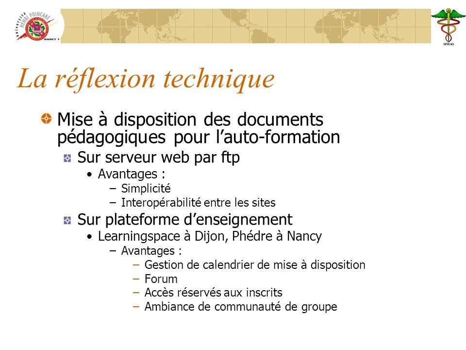 La réflexion technique Mise à disposition des documents pédagogiques pour lauto-formation Sur serveur web par ftp Avantages : –Simplicité –Interopérab