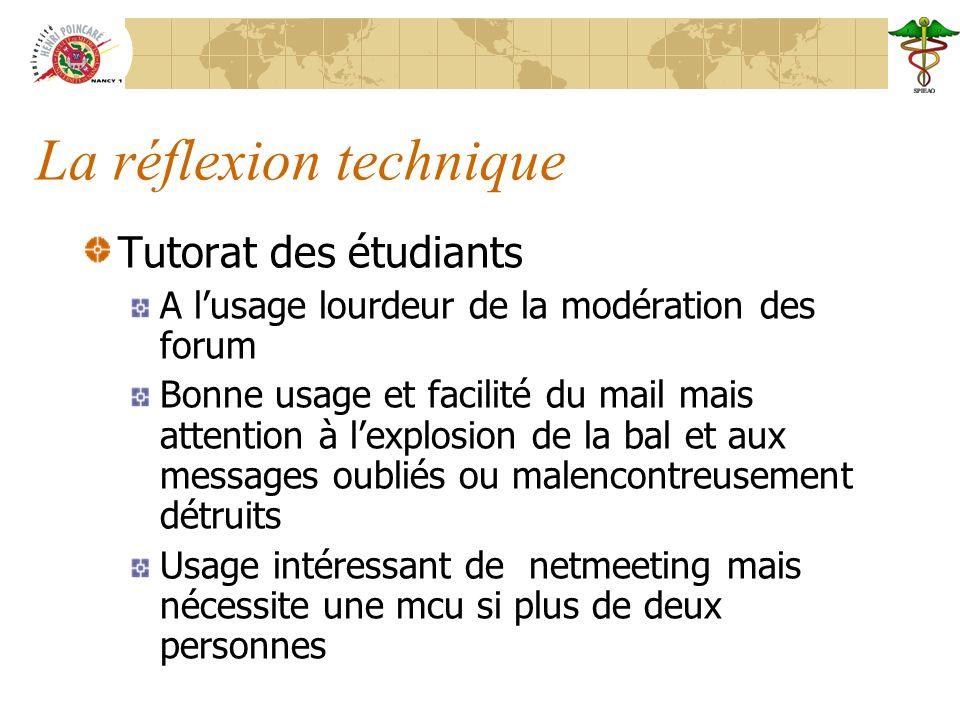 La réflexion technique Tutorat des étudiants A lusage lourdeur de la modération des forum Bonne usage et facilité du mail mais attention à lexplosion