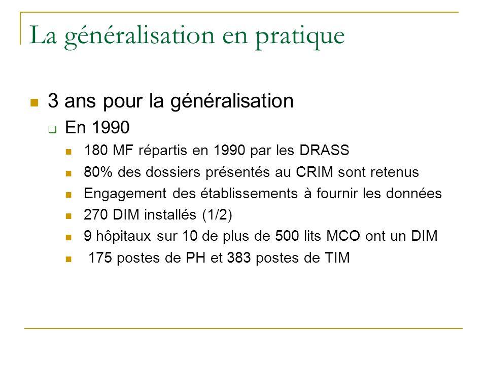 La généralisation en pratique 3 ans pour la généralisation En 1990 180 MF répartis en 1990 par les DRASS 80% des dossiers présentés au CRIM sont reten